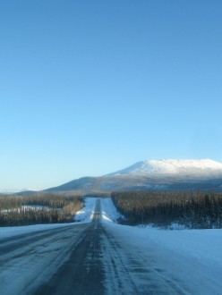 Highway north of Whitehorse, mountain, forest,
