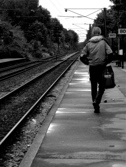Dannish train platform, black and white photo