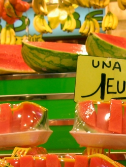 Barcelona fruit markets watermelon