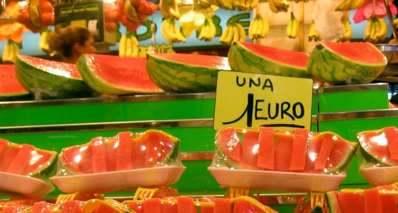Barcelona fruit markets watermelon Mercat de Sant Josep de la Boqueria
