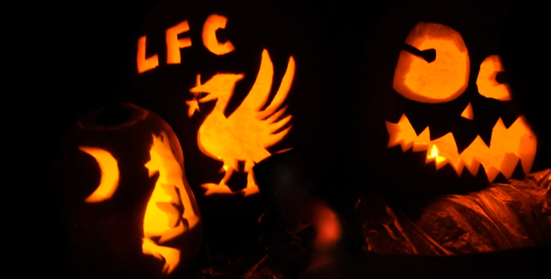 Carved pumpkins, wolf, jack-o-latern, Liverpool, LFC