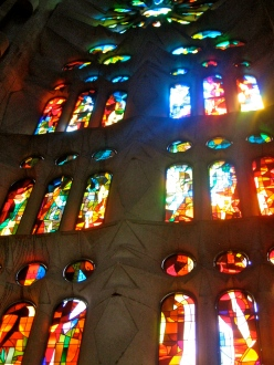 Stained glass window of La Sagrada Familia