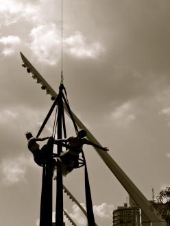 Cirque du soleil acrobats perform in Place des Arts, Montreal