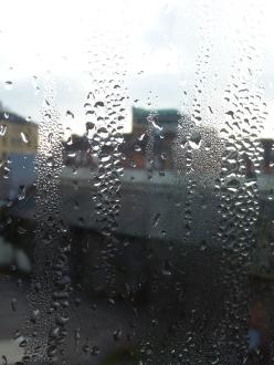 Condensation on window over Glasgow