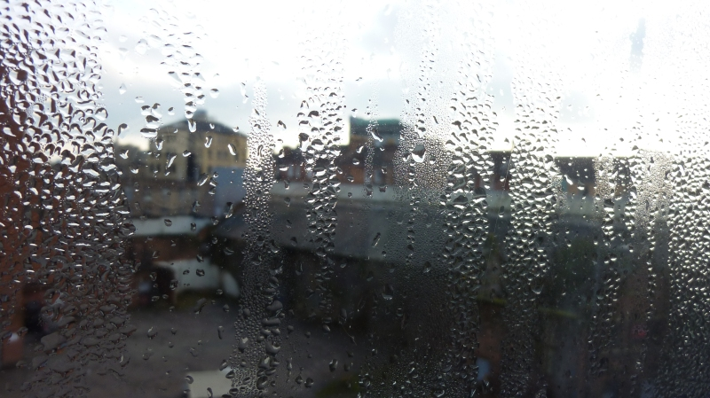 Condensation on window over Glasgow