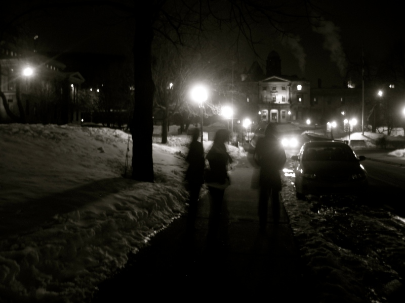 McGill University campus in the winter at night