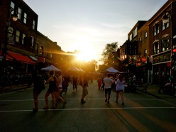 Sunset through St Laurant, Montreal, street fair