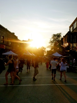 Sunset through St Laurant, Montreal, street fair