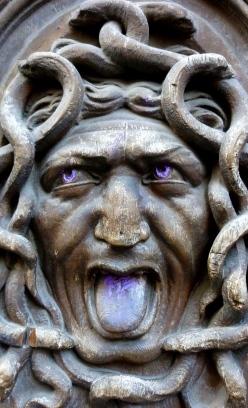 Paris wooden door carving of Medusa