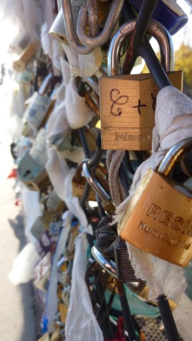 love locks, padlocks on the bridges over the Seine, Paris