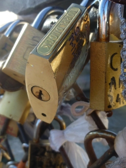 Padlocks of love on Paris Bridges