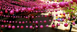 Pink balls street decor of Montreal gay village