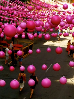 Pink balls street decor of Montreal gay village