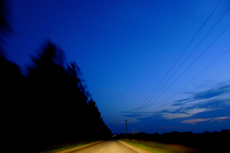 Blurred night photo, front seat, drive