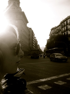 Sepia, close up girl in sunglasses, street photography