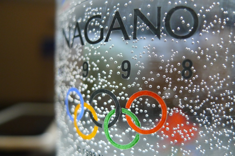 Close up Nagano Olympic 1998 glass, bubbles