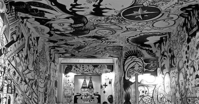 Espace Go Theatre loading dock, graffiti mural, black and white