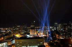 Spotlights exhibit Montreal Place des Arts, Quartier des Spectacles