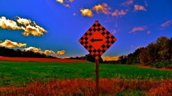 country road sign, distorted colours
