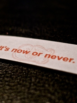 Fortune Cookie reads: It's now or never
