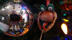 mouse ornament, closeup, christmas bulb reflection, silver