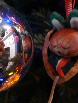 mouse ornament, closeup, christmas bulb reflection, silver