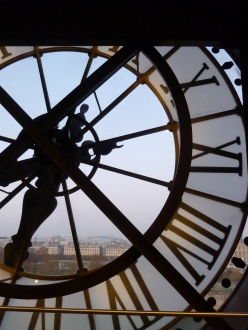 Clock at Musee D'Orsay looking out over Paris, Sacre Coeur