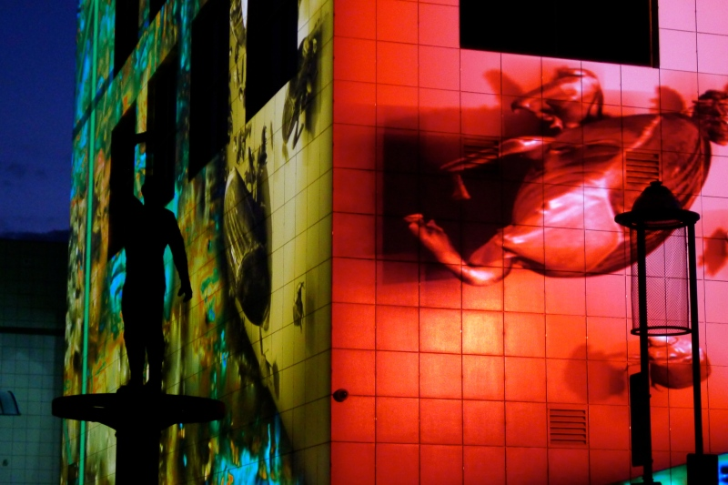 Enlighten Festival Canberra light projections on building