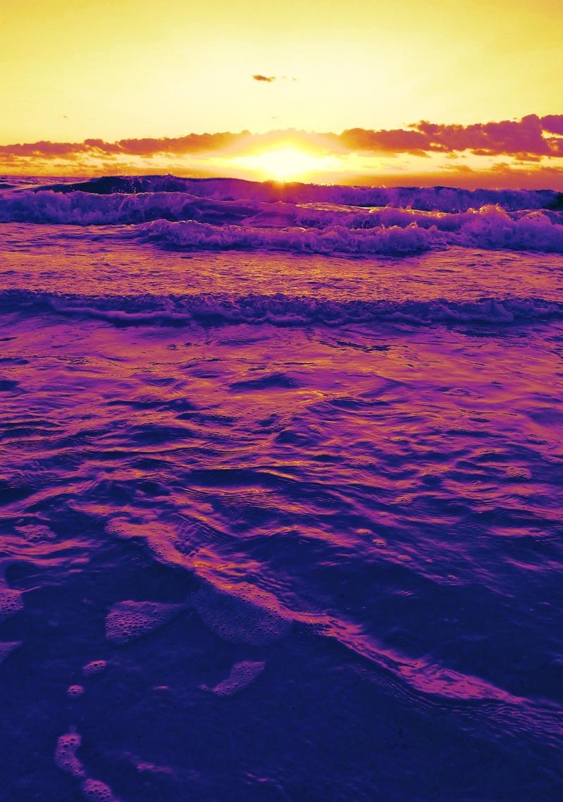 Waves at sunrise, Tulum Mexico
