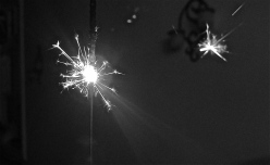 close up sparkler, black and white