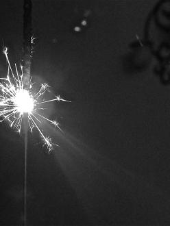 close up sparkler, black and white