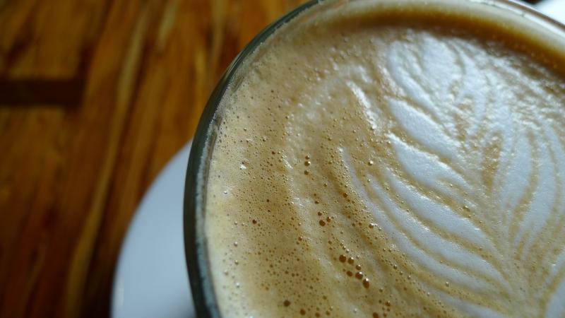 close-up lavender latte coffee