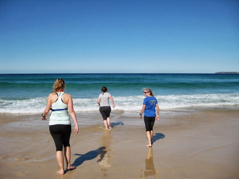 Wading into the water at Bondi Beach after City2Surf 2013