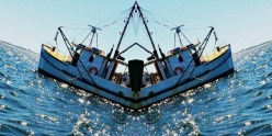 Ausrtalian fishing boat, mirrored image